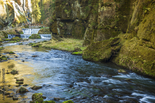 Foto op Aluminium Rivier Kamenice River in Bohemian Switzerland National Park, Czech Republic