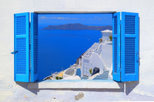 Sea View Through Traditional Greek Window In Santorini Island