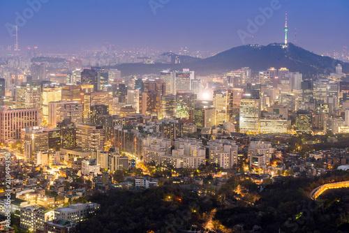 Zdjęcie XXL Nocny widok z Seulu Downtown cityscape