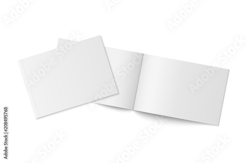 Fotobehang Wit Mockup of two thin books with soft cover isolated.
