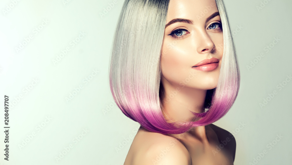 Fototapeta Beautiful hair coloring woman. Fashion Trendy haircut.Ombre bob short hairstyle. Blond model with short shiny hairstyle. Concept Coloring Hair. Beauty Salon