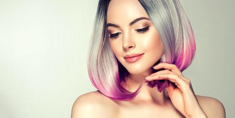 Beautiful hair coloring woman. Fashion Trendy haircut.Ombre bob short hairstyle. Blond model with short shiny hairstyle. Concept Coloring Hair. Beauty Salon