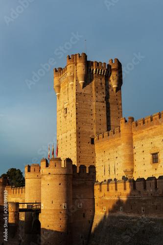 Foto op Plexiglas Kasteel Castle of La Mota in Medina del Campo at dusk