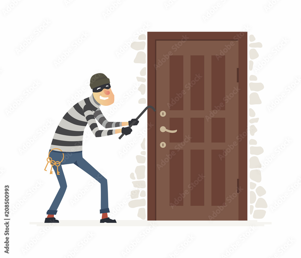 Fototapeta Burglar - cartoon people characters illustration