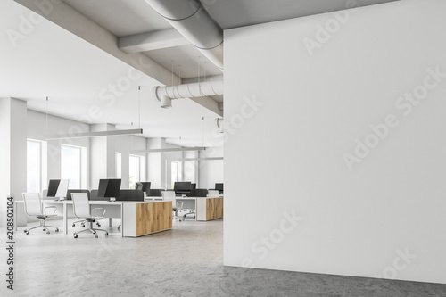 fototapeta na drzwi i meble White open space office mock up wall side view
