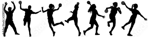 Obraz na plátně Handball player in action vector silhouette illustration isolated on white background