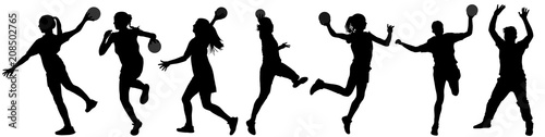 Fotografia, Obraz Handball player in action vector silhouette illustration isolated on white background