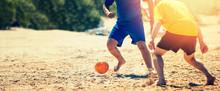 Playing Beach Soccer