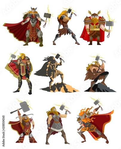 norse mythology thor gods Canvas Print