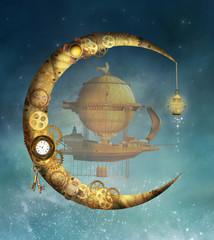 Fototapeta Vintage Steampunk moon and vessel