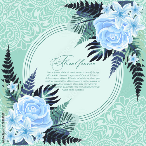 Vector Banner With Tropical Leaves And Flowers On Light Blue Background Design For Invitation Card Wedding Buy This Stock Vector And Explore Similar Vectors At Adobe Stock Adobe Stock
