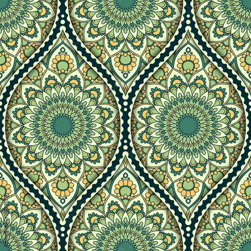 Poster Boho Style Seamless pattern with ethnic mandala ornament. Hand drawn vector illustration