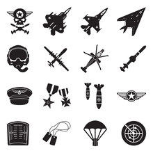 Air Force Icons. Black Flat Design. Vector Illustration.
