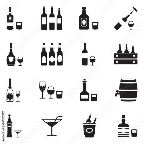 Valokuva Alcoholic Drinks Icons. Black Flat Design. Vector Illustration.