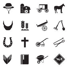 Amish Icons. Black Flat Design. Vector Illustration.