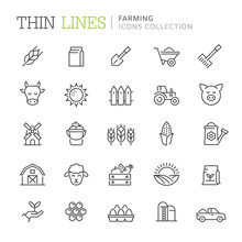 Collection Of Farming Thin Lin...