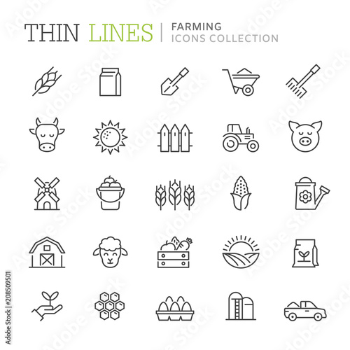 Collection of farming thin line icons Fototapete