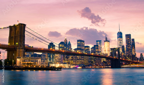 Fotobehang New York City Brooklyn Bridge and Lower Manhattan in New York City