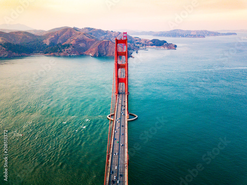 Golden Gate bridge in San Francisco at sunset aerial