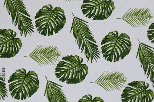 Foto op Plexiglas Buffet, Bar Palm leaves tablecloth
