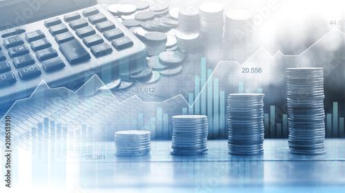 Fototapeta Stock market or forex trading graph in graphic double exposure concept obraz