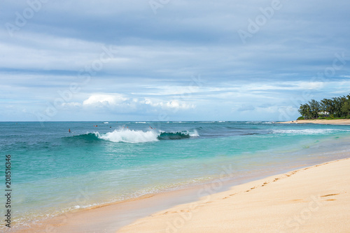 Staande foto Oceanië Absolutely amazing beautiful golden beach by the Pacific ocean at the island of Oahu, Hawaii.