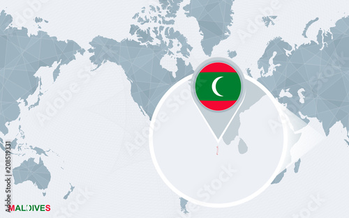World Map Centered On America With Magnified Maldives Buy This
