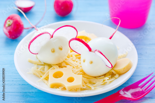 Boiled egg mouse decorated with radish and cheese, fun and healthy snack or breakfast for kids