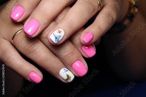 Aluminium Prints Manicure Closeup of woman hands with nail design.