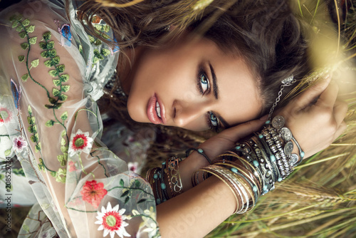Fotobehang Gypsy beautiful bohemian girl