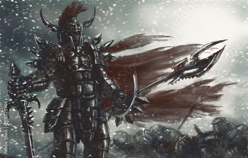 Photo  The cruel warrior of antiquity in black armor won the battle