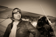 Portrait Of A Vintage Pilot Wi...