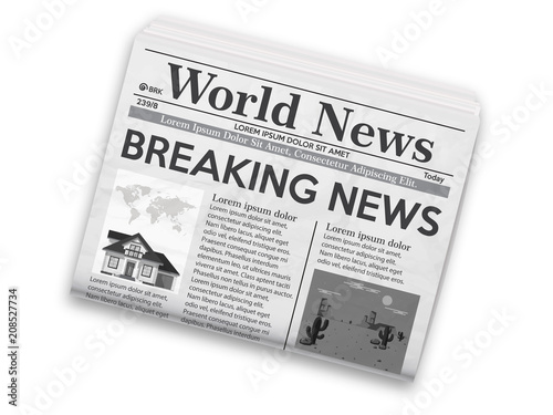 Fototapeta Realistic vector illustration of black and white newspaper layout. obraz