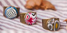 Handmade Polymer Clay Rings. Boho Jewelry. Purple, Blue, Green Rings.Artisan African Style.