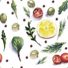 Watercolor Food And Vegetables...
