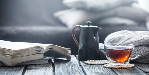 still life book and a cup of tea in the living room