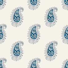 Indigo Dye Woodblock Printed Seamless Paisley Pattern. Traditional Oriental Indian Ethnic Ornament, Navy Blue And Teal On Ecru Background. Textile Design.