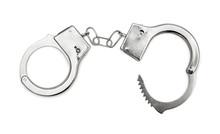Opened Handcuffs  On White Background. Top View.