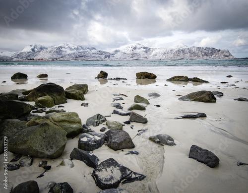 Poster Scandinavie Rocky coast of fjord of Norwegian sea in winter with snow. Haukland beach, Lofoten islands, Norway.