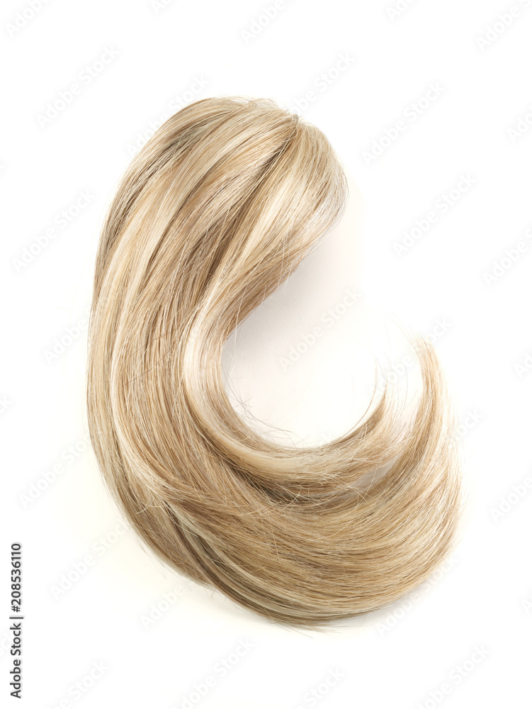 Blonde hair swatch curl on a white background Foto, Poster ...