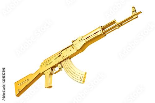 Golden assault rifle, 3D rendering Canvas Print