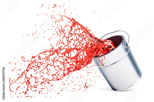 Red paint splashing out of can, 3D rendering