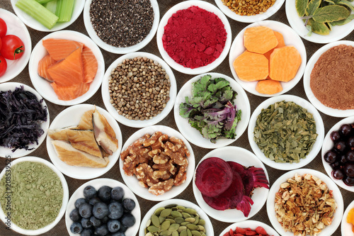 Fototapety, obrazy: Health food to benefit brain cognitive functions with fish, fruit, vegetables, seeds, nuts, supplement powders with herbs also used in herbal medicine.