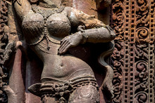 Sculpure Of A Woman Carved In The Rajarani Temple In Bhubaneshwar, India