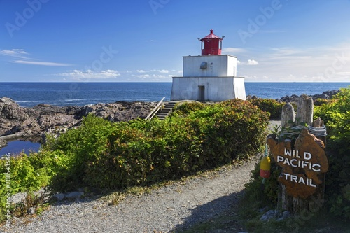 Amphitrite Point Lighthouse on Wild Pacific Hiking Trail near Ucluelet, Vancouve Canvas Print