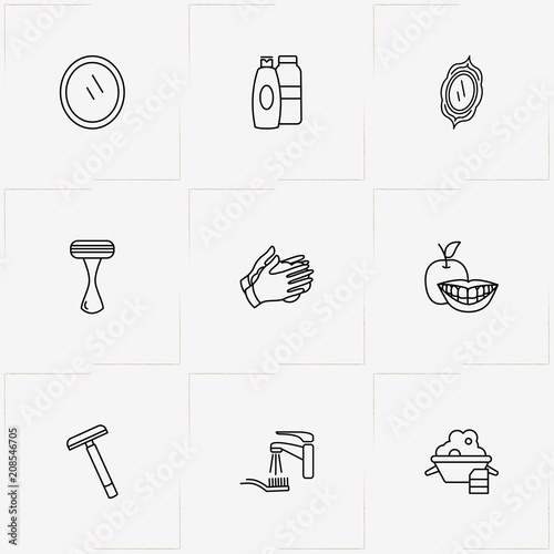 Fotografia, Obraz  Hygiene line icon set with drying hands, smile and suds