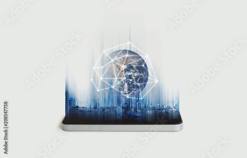 Photo  Mobile phone network, communication and global networking technology