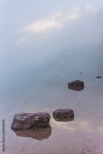 Door stickers Gray Rocks in Foggy Avalanche Lake