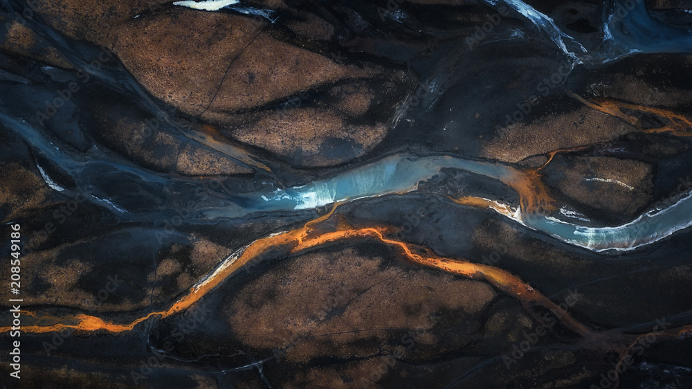 Fototapety, obrazy: Aerial photo of mix color of stream in to river