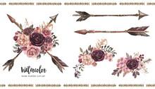 Watercolor Boho Floral Illustr...